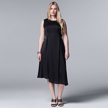 Plus Size Simply Vera Vera Wang Simply Noir Satin Fit & Flare Dress