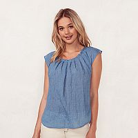 Women's LC Lauren Conrad Pleated Chambray Top