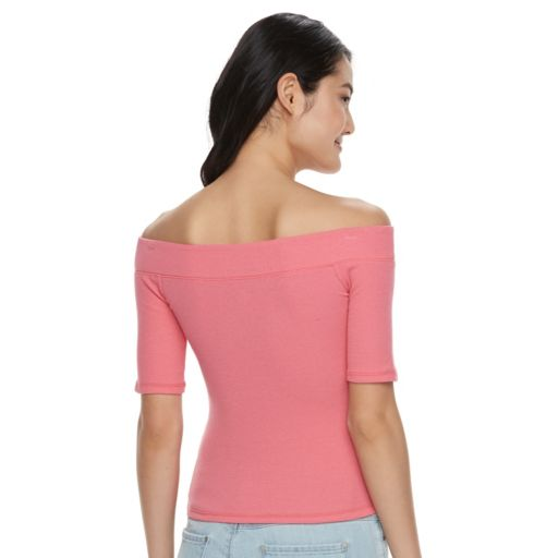 Juniors' SO® Ribbed Off The Shoulder Top