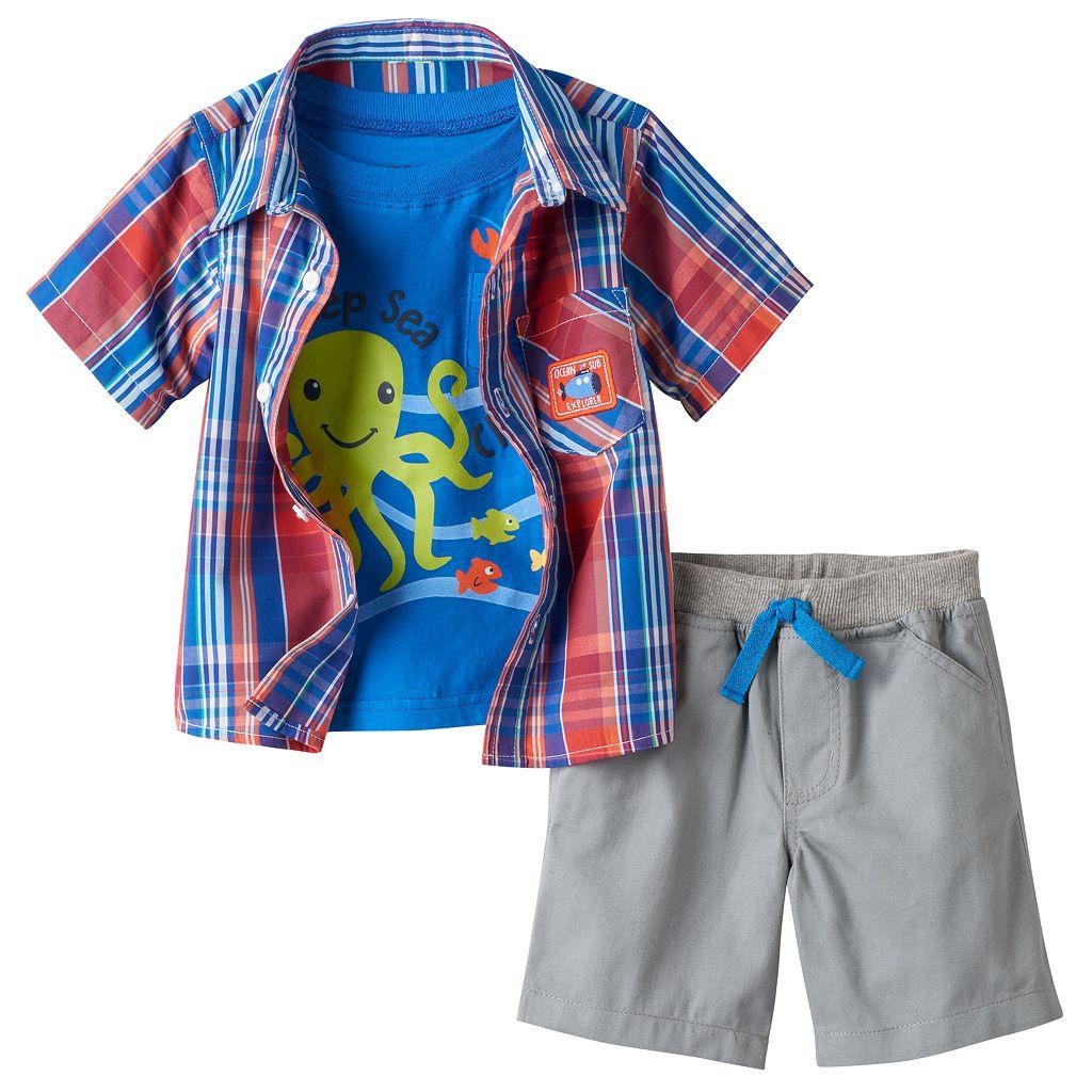 Baby Boy Boyzwear Plaid Shirt & Shorts Set