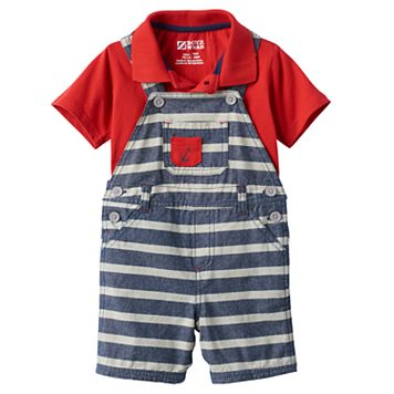Baby Boy Boyzwear Solid Polo & Striped Shortalls Set