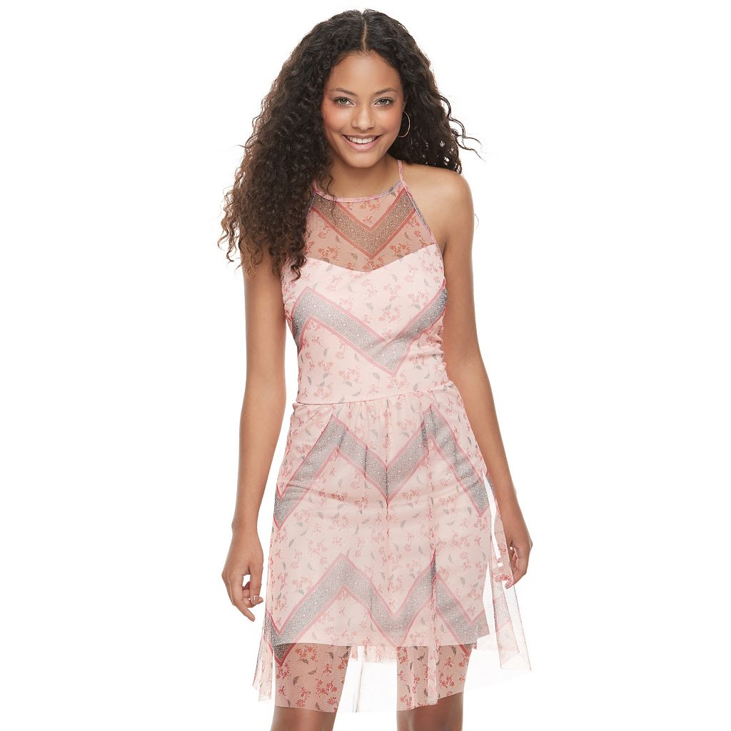 Juniors' Candie's® Mesh High Neck Dress
