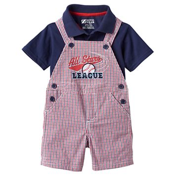 Baby Boy Boyzwear Solid Polo & Plaid Shortalls Set