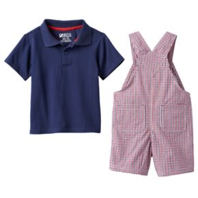 Baby Boy Boyzwear Solid Polo & Plaid Shortalls Set
