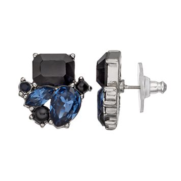 Simply Vera Vera Wang Black & Blue Stone Nickel Free Cluster Drop Earrings