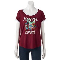 Juniors' Marvel Comics Superheroes Graphic Tee