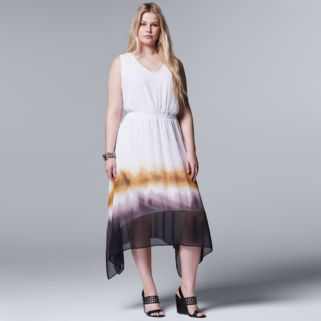 Plus Size Simply Vera Vera Wang Ombre Fit & Flare Dress