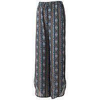 Juniors' Joe B Print Crochet-Side Soft Pants