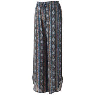 Juniors' Joe B Print Crochet-Side Soft Pants