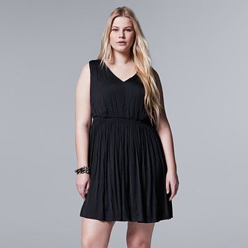 Plus Size Simply Vera Vera Wang Simply Noir Shirred Fit & Flare Dress