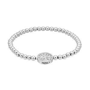CHARMED BY DIAMONDS Sterling Silver 1/10 Carat T.W. Diamond Family Tree Stretch Bracelet