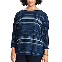 Plus Size Chaps Striped Cotton Sweater