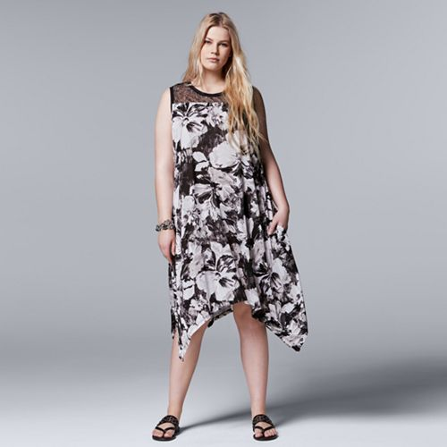 8ca85449d2a Plus Size Simply Vera Vera Wang Floral Lace Handkerchief Dress