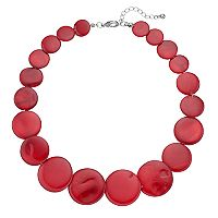 Red Graduated Composite Shell Disc Statement Necklace