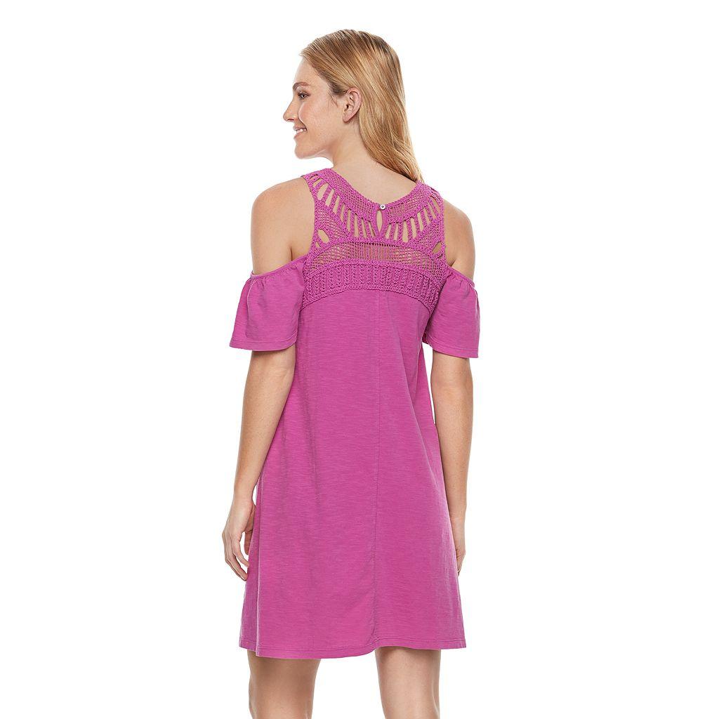 Petite SONOMA Goods for Life™ Macrame Cold-Shoulder Dress