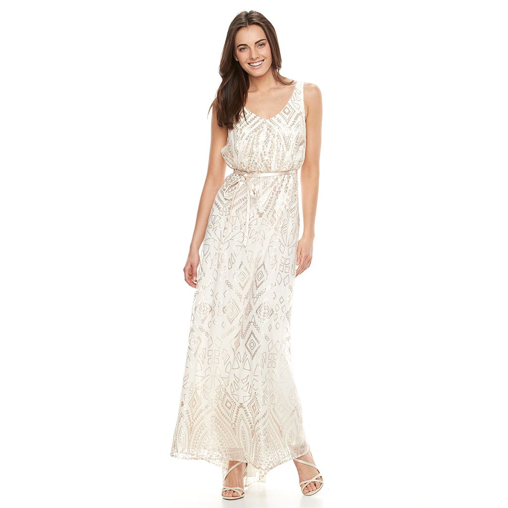 Women's Onyx Nite Geometric Blouson Evening Gown