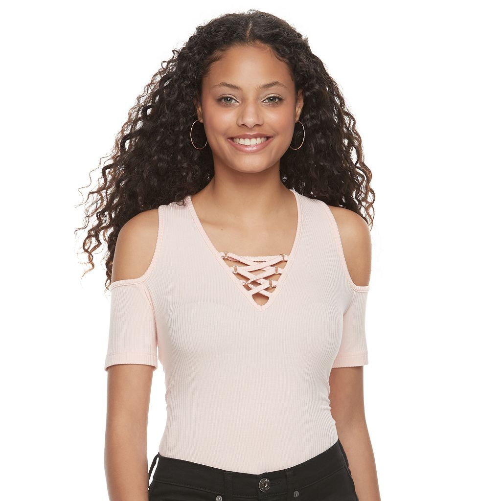 Juniors' Candie's® Lace Up Cold Shoulder Bodysuit