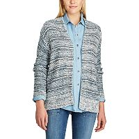 Petite Chaps Marled Open-Front Cardigan