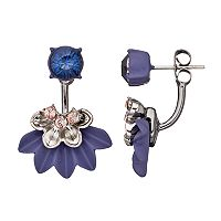 Simply Vera Vera Wang Purple Nickel Free Flower Fan Front Back Earrings