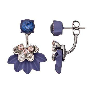Simply Vera Vera Wang Purple Nickel Free Flower Fan Front Back Earrings