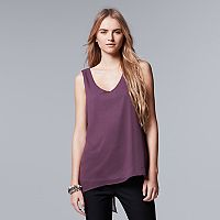 Women's Simply Vera Vera Wang Split Back Mixed-Media Tank