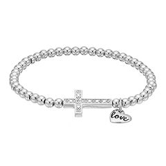 CHARMED BY DIAMONDS Sterling Silver 1/10 Carat T.W. Diamond Sideways Cross Stretch Bracelet