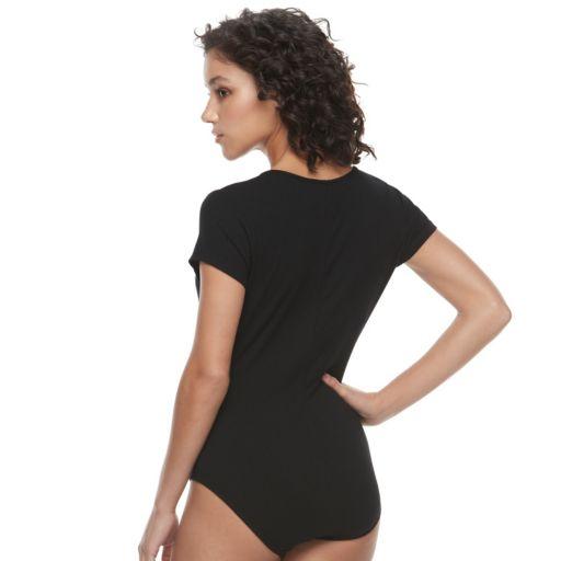 Juniors' Candie's® Ribbed Zip Front Bodysuit