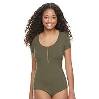 Juniors' Candie's® Ribbed Zip Front Bodysuit