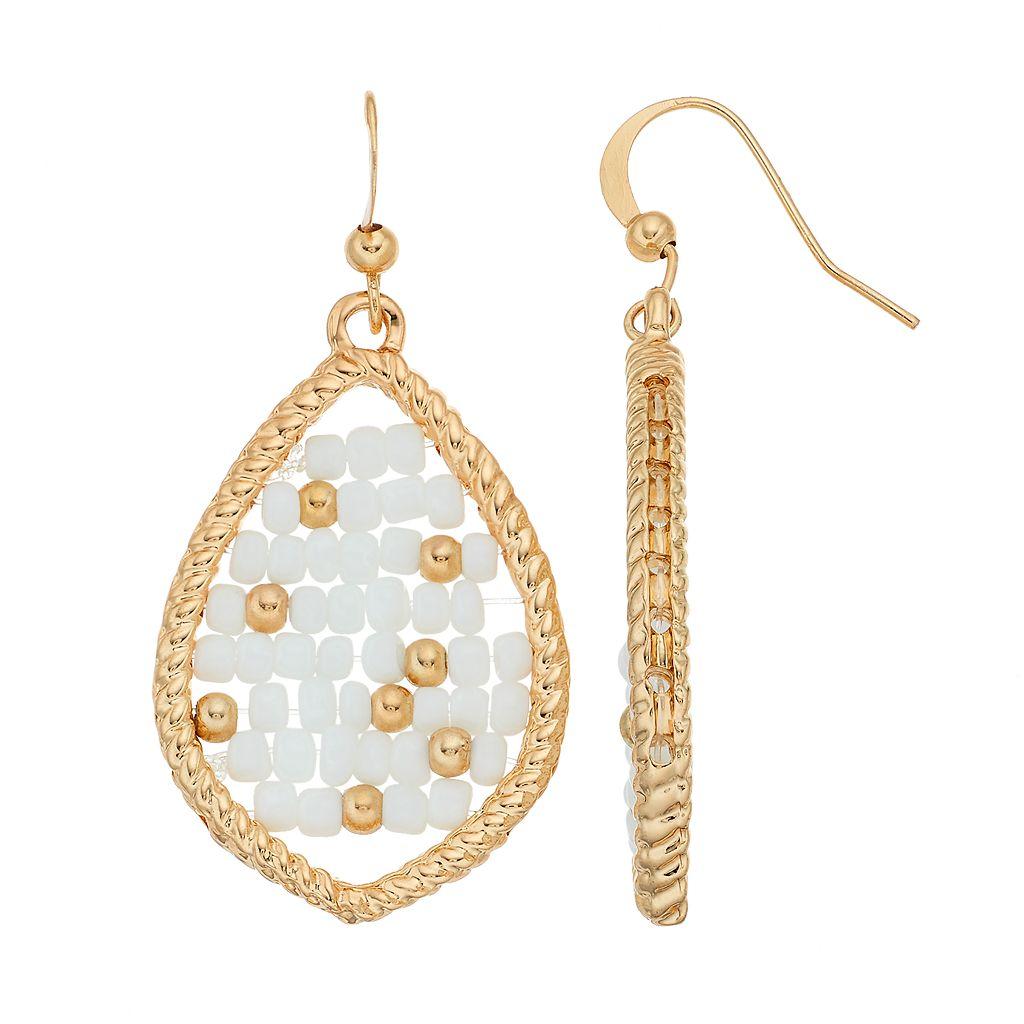 White Seed Bead Woven Nickel Free Marquise Drop Earrings