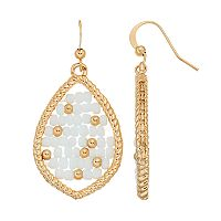 White Seed Bead Woven Nickel Free Marquise Drop Earrings