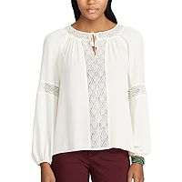 Petite Chaps Lace-Trim Georgette Peasant Top