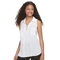 Juniors' Candie's® Solid Lace-Up Top
