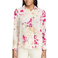 Petite Chaps Pleated-Back Floral Shirt