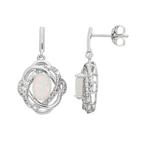 RADIANT GEM Sterling Silver Lab-Created Opal Oval Knot Drop Earrings