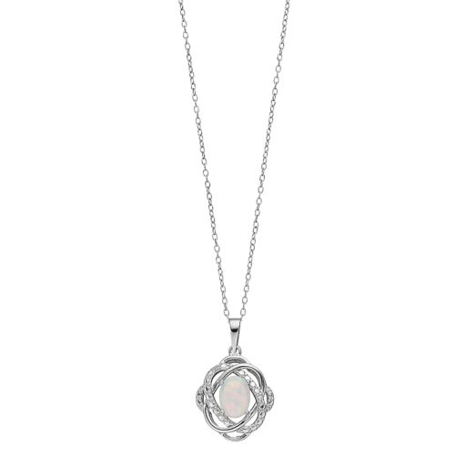 RADIANT GEM Sterling Silver Lab-Created Opal Oval Knot Pendant