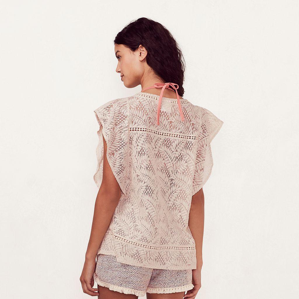 Women's LC Lauren Conrad Beach Shop Lace Palm Tree Cover-Up Top