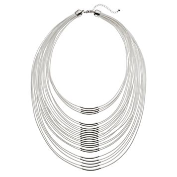 White Cord Curved Bar Layered Necklace