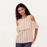 Women's LC Lauren Conrad Striped Cold-Shoulder Top