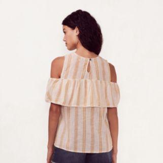 Women's LC Lauren Conrad Striped Cold-Shoulder Top