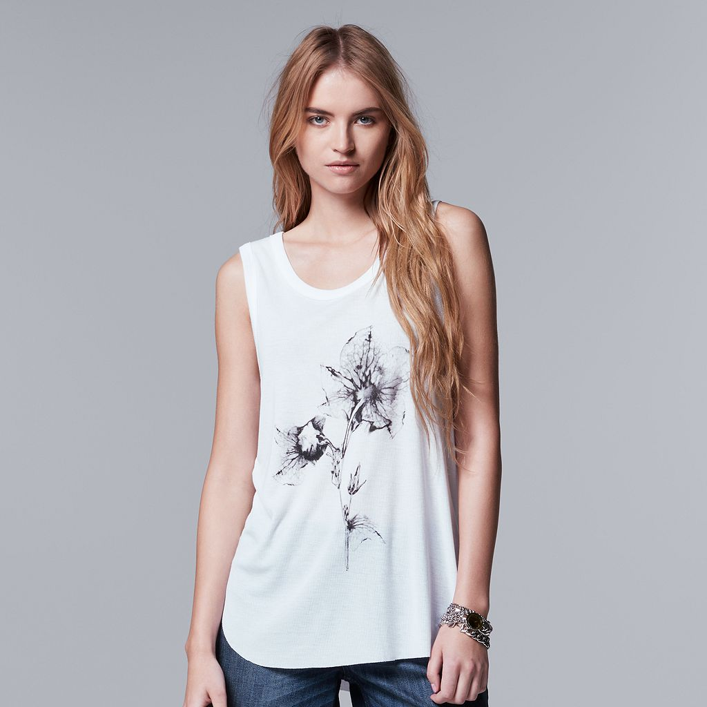 Women's Simply Vera Vera Wang Flower Graphic Tank