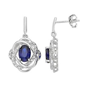 RADIANT GEM Sterling Silver Lab-Created Sapphire & Diamond Accent Oval Drop Earrings