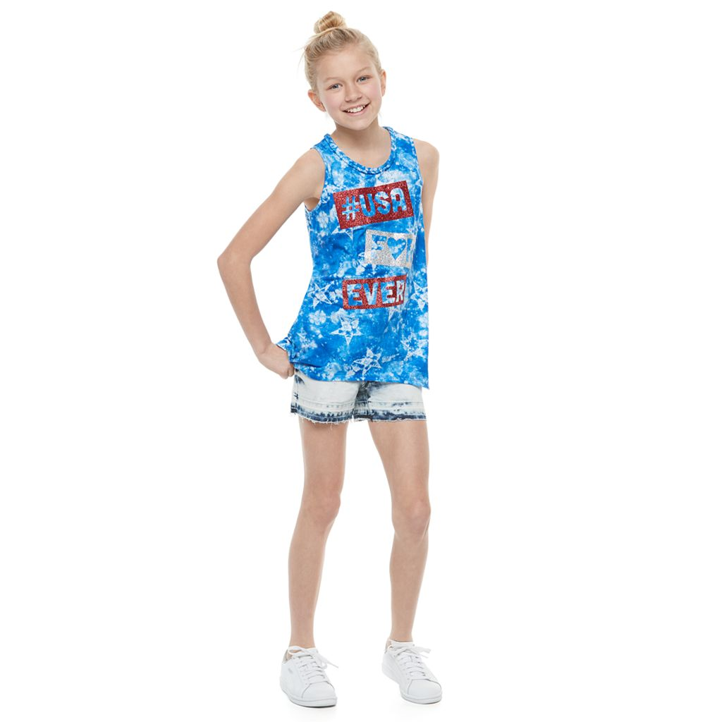 Girls 7-16 & Plus Size SO® Americana Sharkbite Tank Top