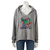 Juniors' Marvel Superheroes Group Graphic Hoodie