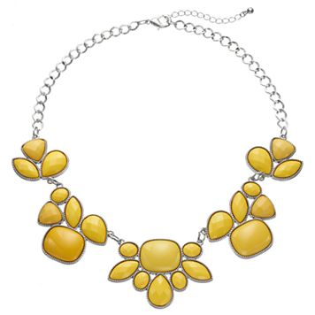 Yellow Geometric Stone Statement Necklace