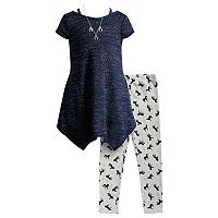 Girls 4-6x Youngland Mini Dress, Printed Leggings & Removable Necklace Set