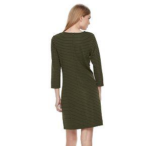 Women's Nina Leonard Striped Zippered-Trim Shift Dress
