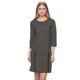 Women's Nina Leonard Striped Zippered-Trim Shift Dress
