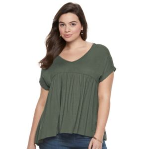 Juniors' Plus Size Mudd® Empire Swing Tee