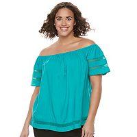 Juniors' Plus Size SO® Crochet Off-The-Shoulder Top