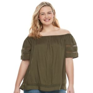 Juniors' Plus Size SO® Crochet Off-The-Shoulder Top